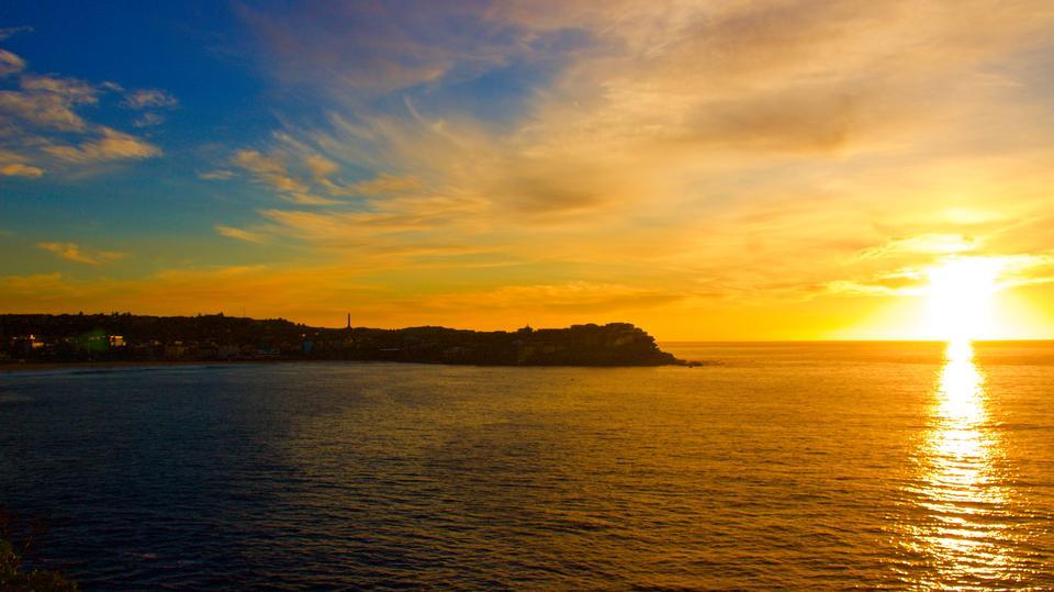 Bondi Beach sunrise over ocean