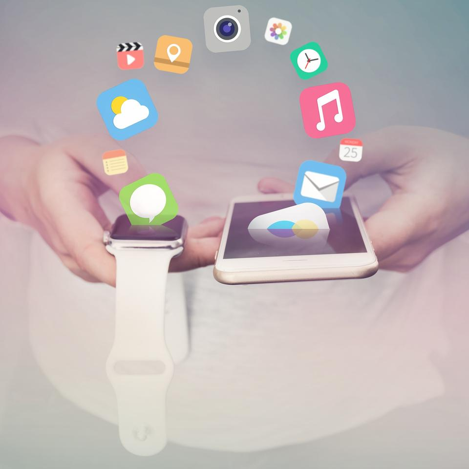 smart watch new technology electronic device with apps icons