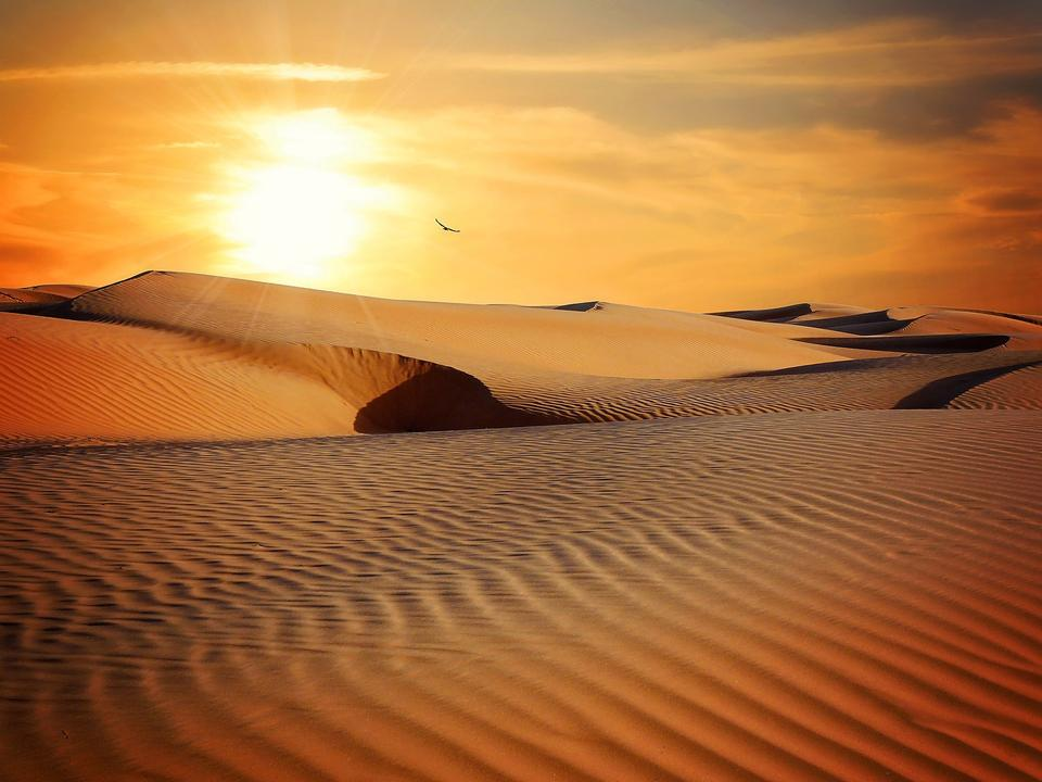 Moroccan desert landscape with sun set. Dunes background.
