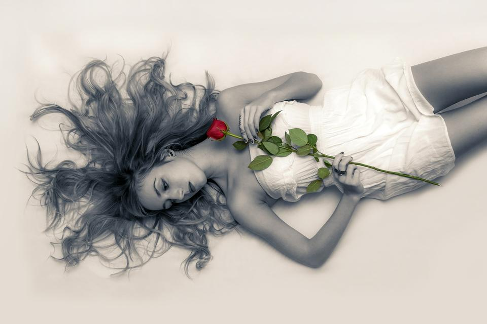 laying down with a red rose