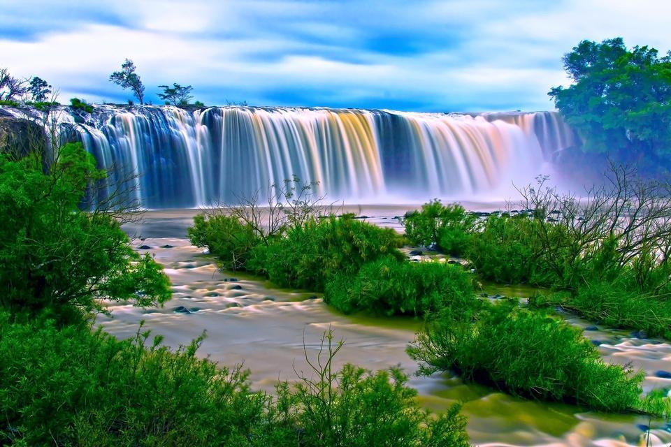 Beautiful Dry Nur waterfall in Vietnam.
