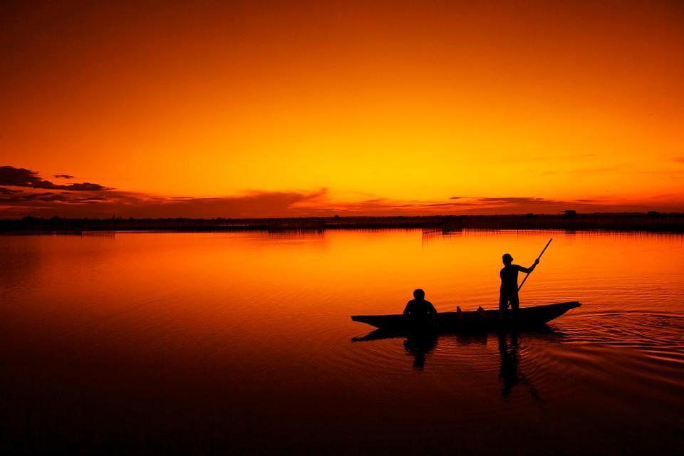 Fischer, Fischen, wo die Lagune, die Stadt Hue, Vietnam