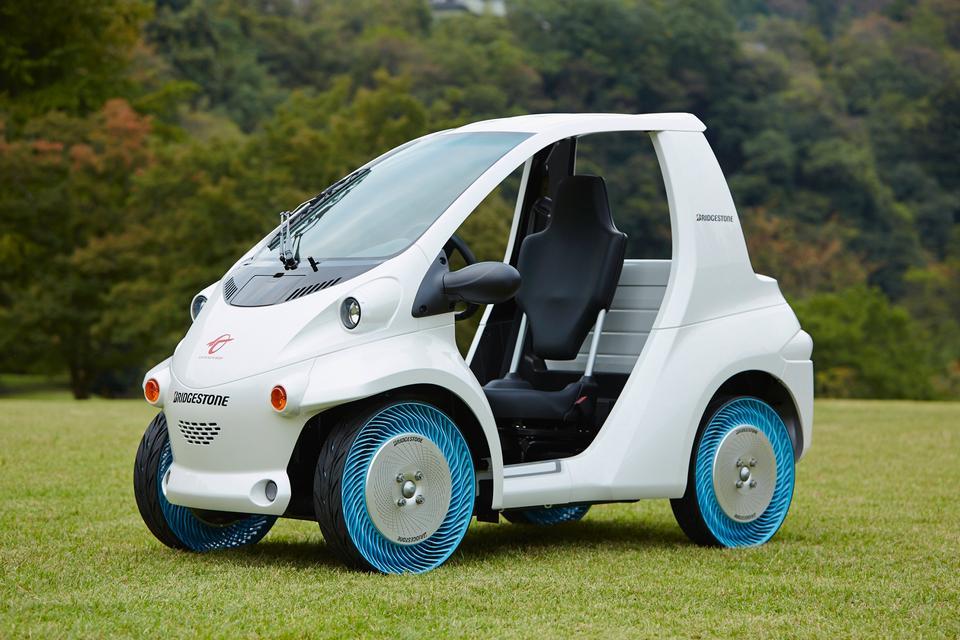 在綠色的草地電動車