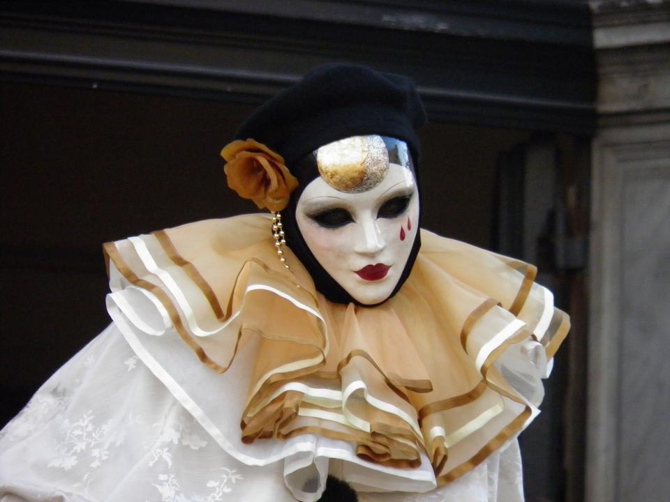 Venetian masque de carnaval à Venise lors de Mardi Gras, Italie,