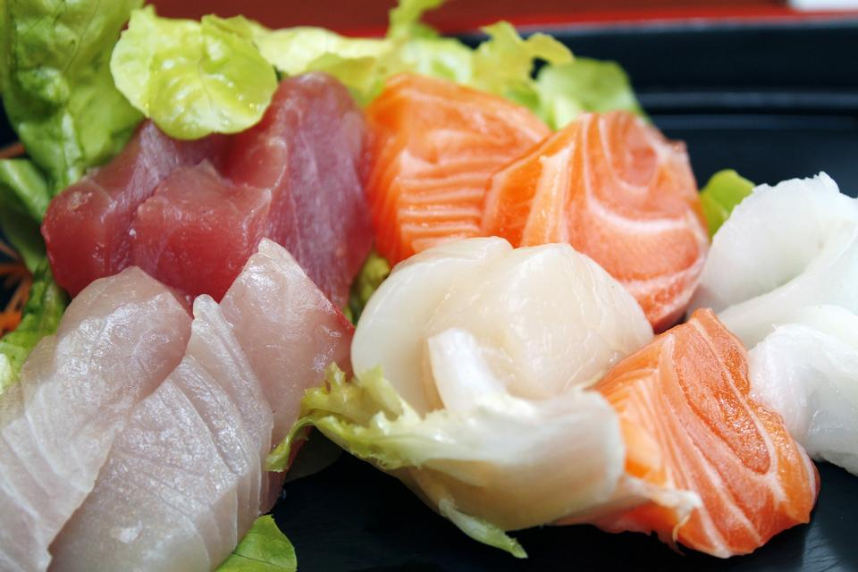 set of sushi on a plate in a single,