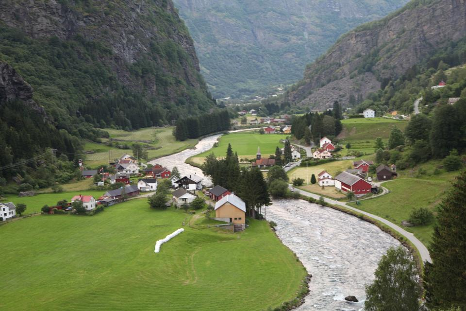 Classic norwegian scandinavian summer mountain landscape