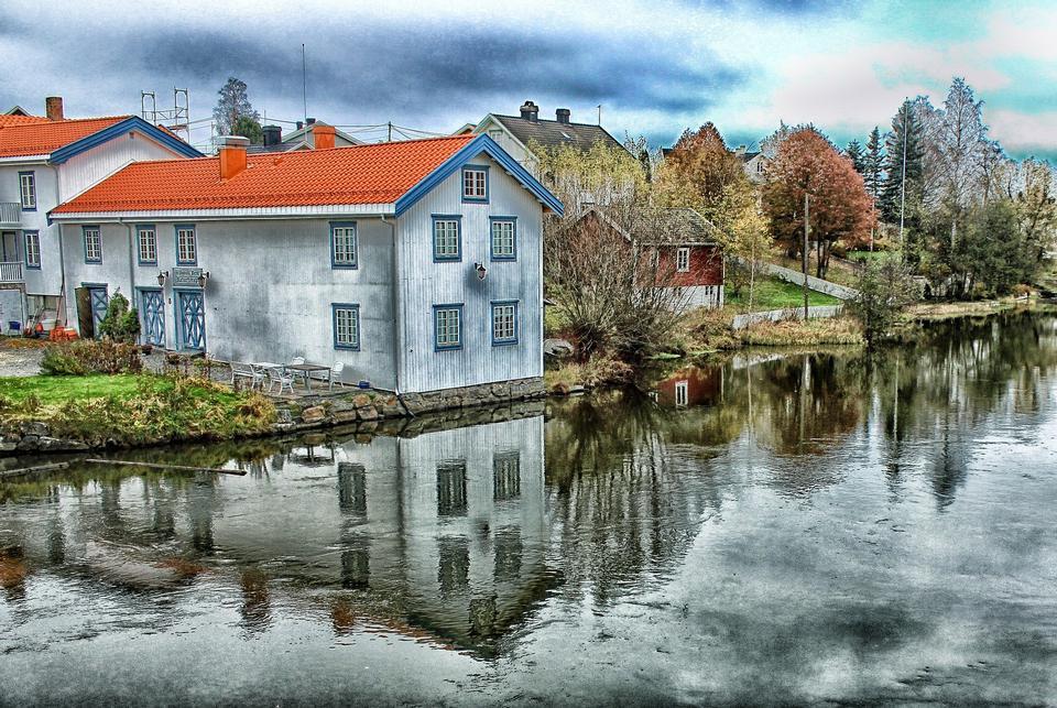 Rorbu House, beach, Lofoten, Norway