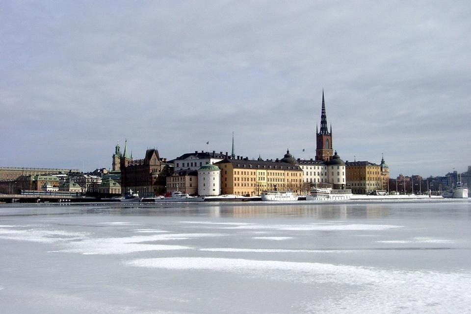 Stockholm's gamla stan region from across the frozen river