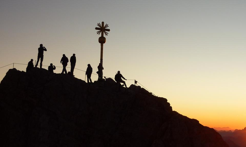 Gold cross stands at the summit of the Zugspitze