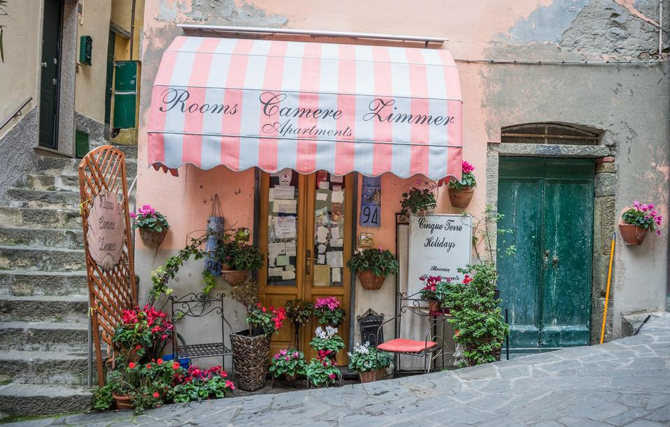 Italy Cinque Terre Store Front Awning Flowers Shop