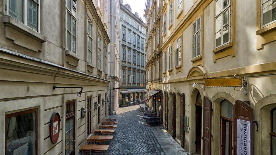 Urban shop between pedestrianized old town Vienna. Austria