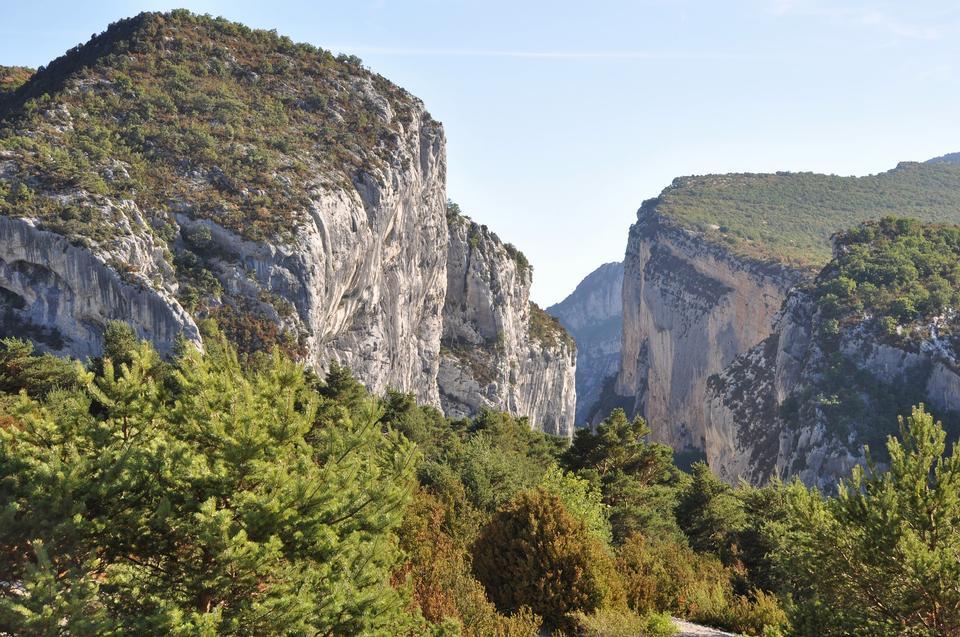 Gorges du Verdon european canyon and river aerial view. Alps