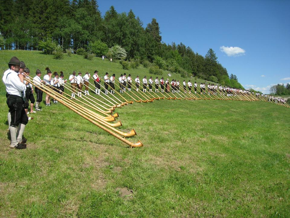 alphorns, traditional folk music instrument - switzerland