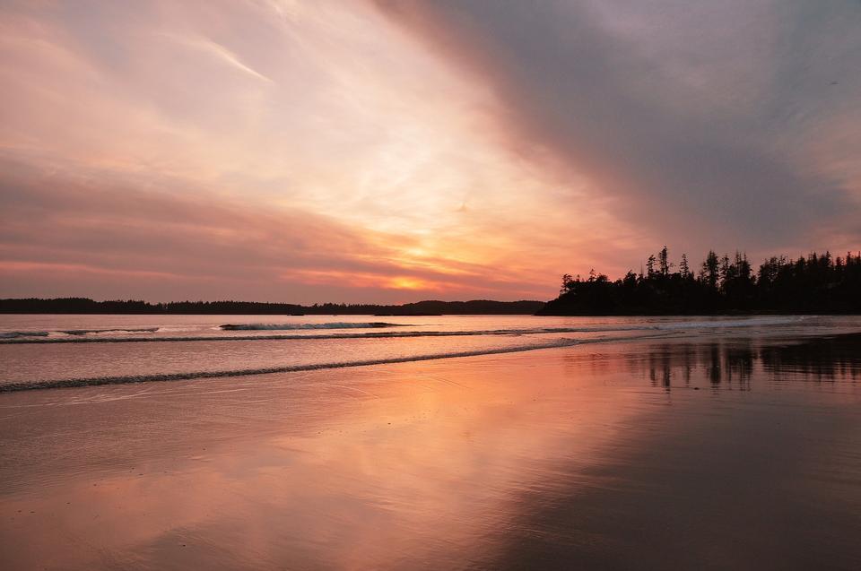帆船灣,托菲諾,尤克盧利特,不列顛哥倫比亞省,日落
