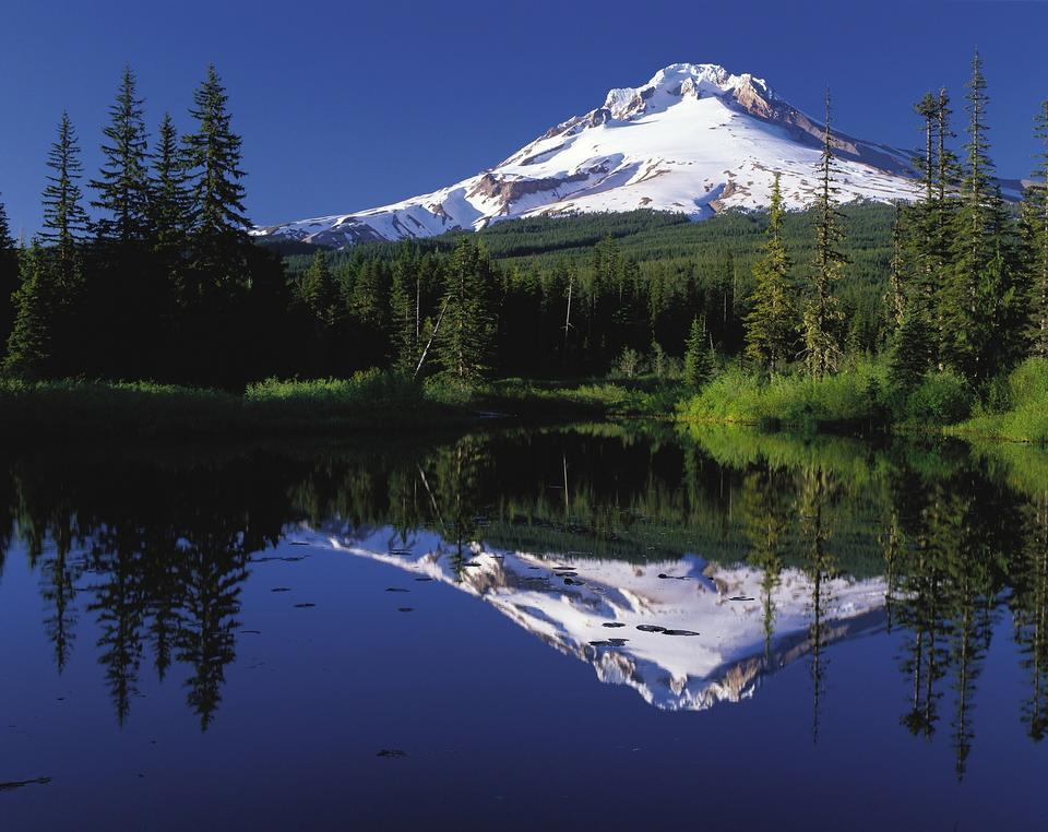 Mount Hood, glaciated mountain in Cascade Range, and the Columbia