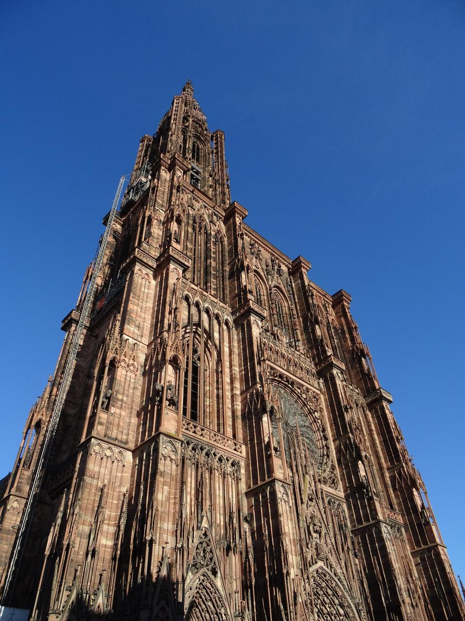 View of the facade of the Cathedral of Our Lady in Strasbourg.