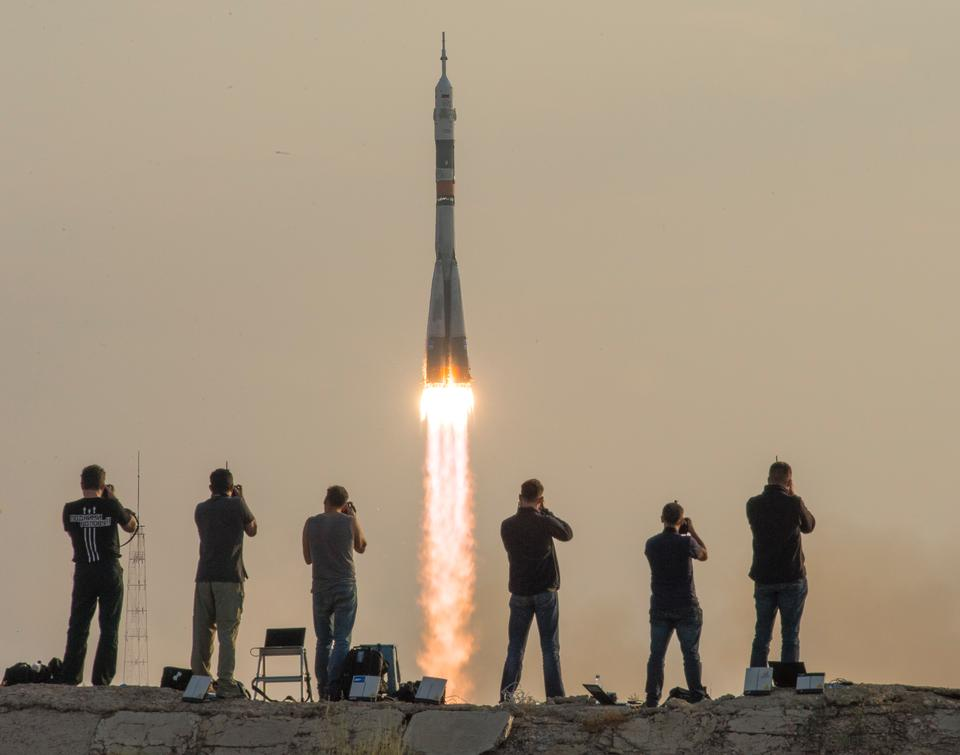 The Soyuz MS-01 spacecraft launches from the Baikonur Cosmodrome