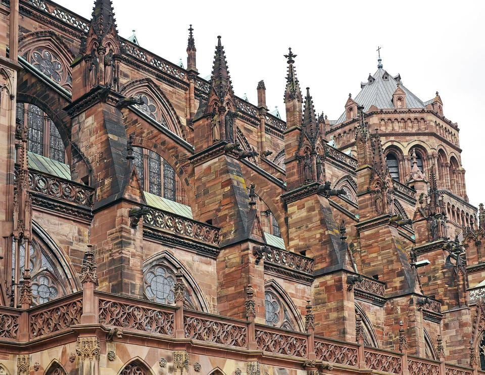 Strasbourg Cathedral West Side Sandstone Gothic Dom