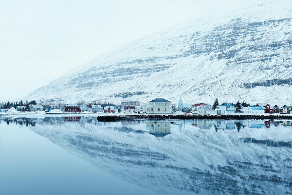 Snow Ice Reflections Water Calm Serene Cold Town