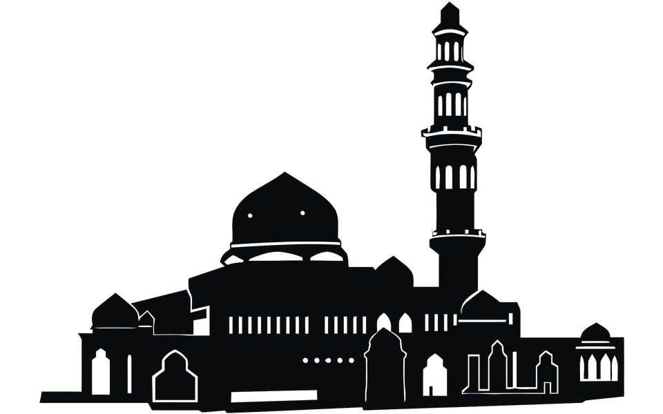 Islamic template, stencil, pattern, grey mosque
