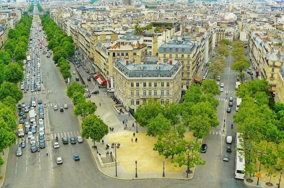 巴黎法國城市道路街景城市景觀