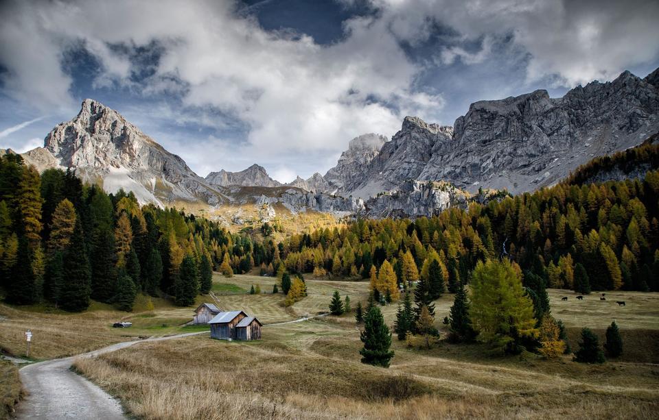 Autumn landscape at Cadini di Misurina, the Dolomites, Italy