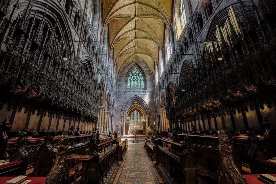 Vista interior, de, catedral Chester, chester, reino unido