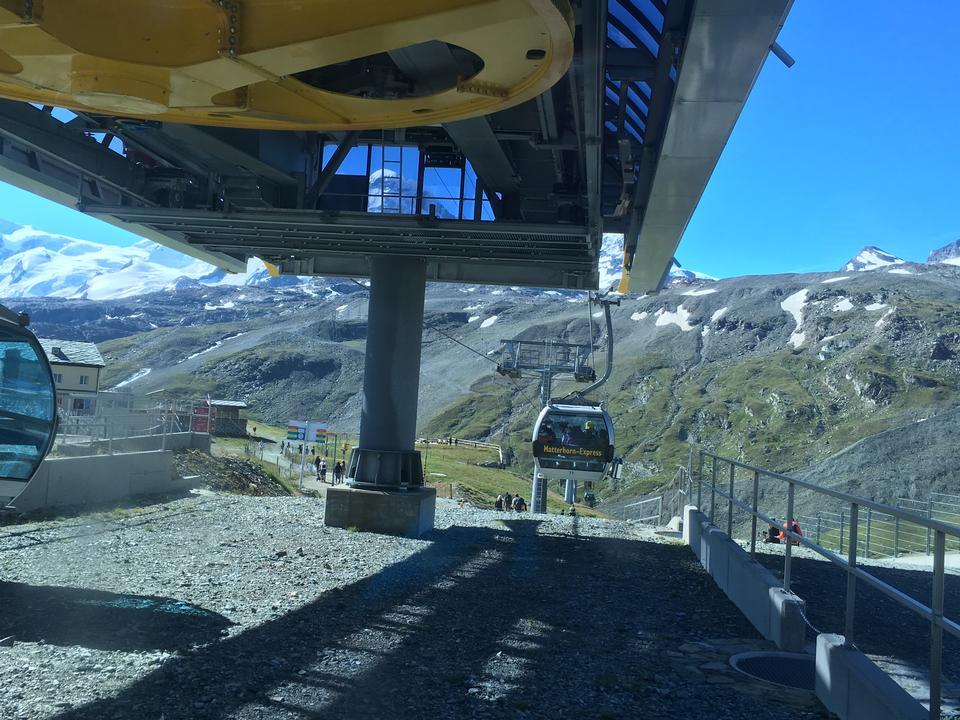 Cable car with Matterhorn in mountains near Zermatt