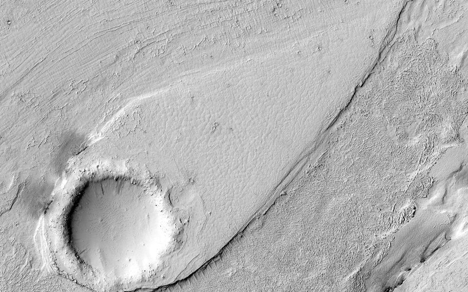 Ein gestraffter Form in Lethe Vallis, Mars