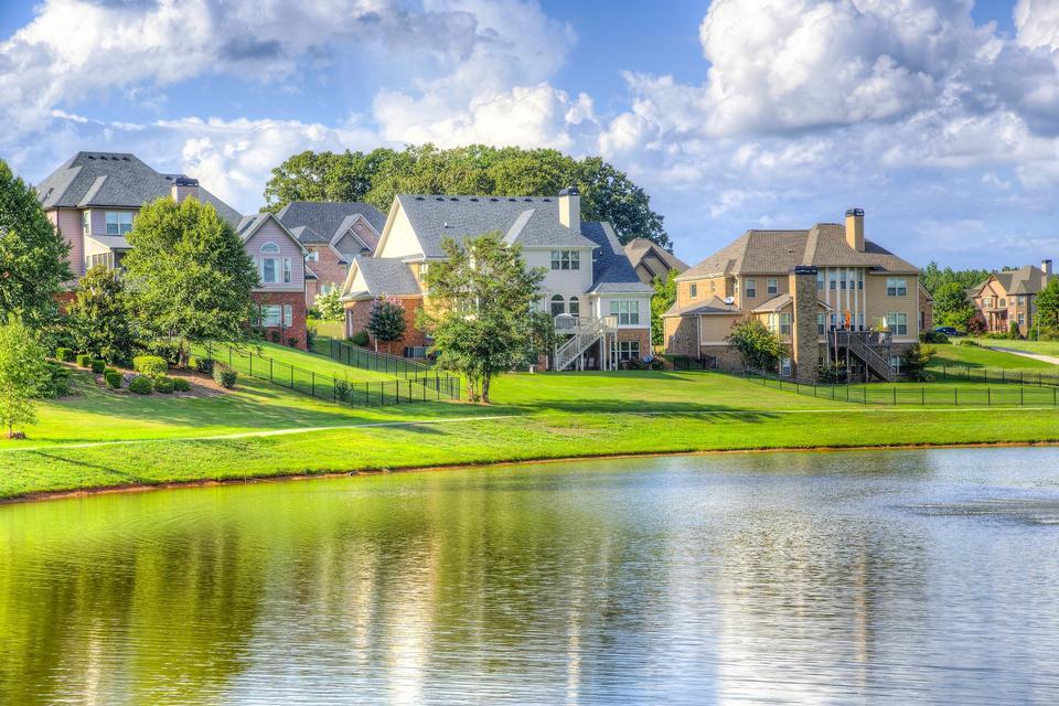 Luxury homes along lake shore