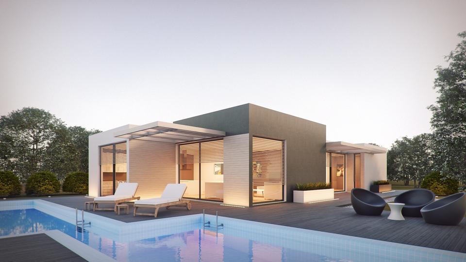 プール付きの現代的な家