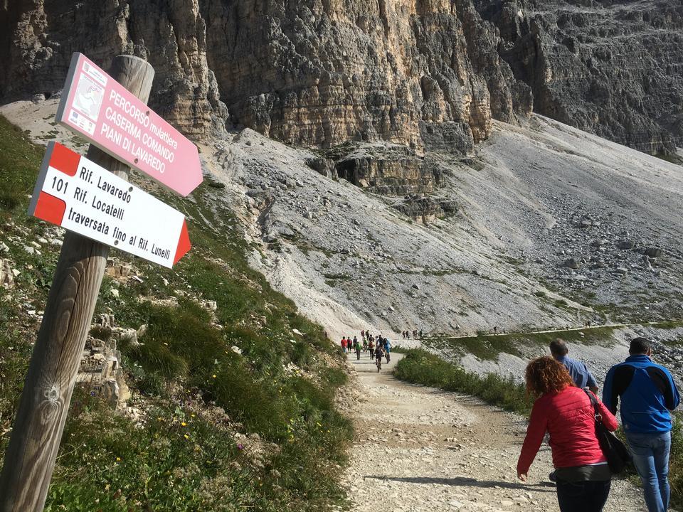 Hiking trip, Dolomites landscape, Giau Pass, Italy