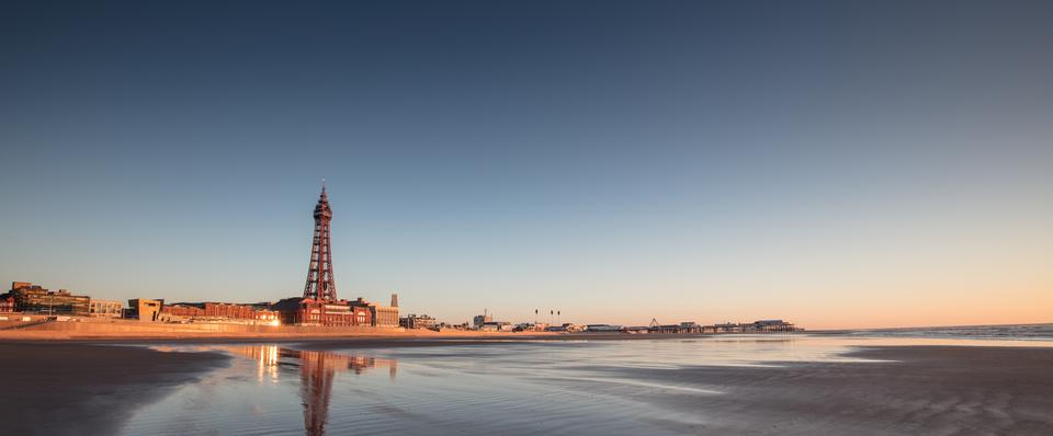 Magical sunset at low tide in the Irish Sea in Blackpool