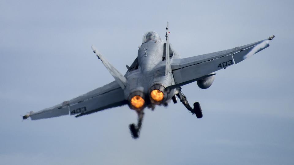 An F/A-18C Hornet takes off
