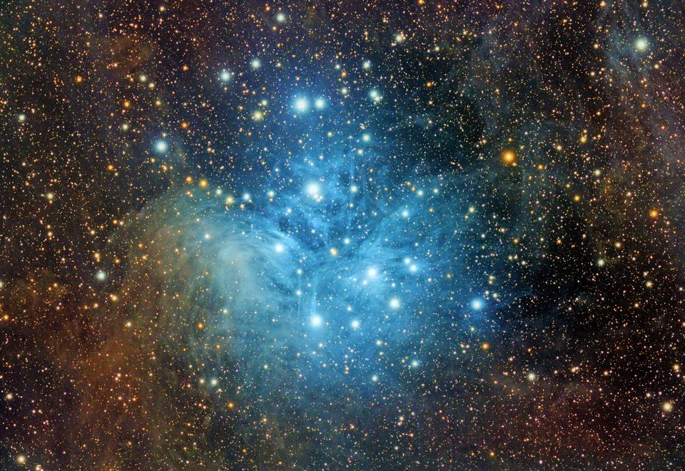 우주 별, 성운과 은하 가득