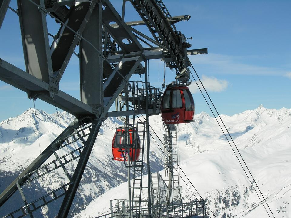 Cable car system in Tonale Italy