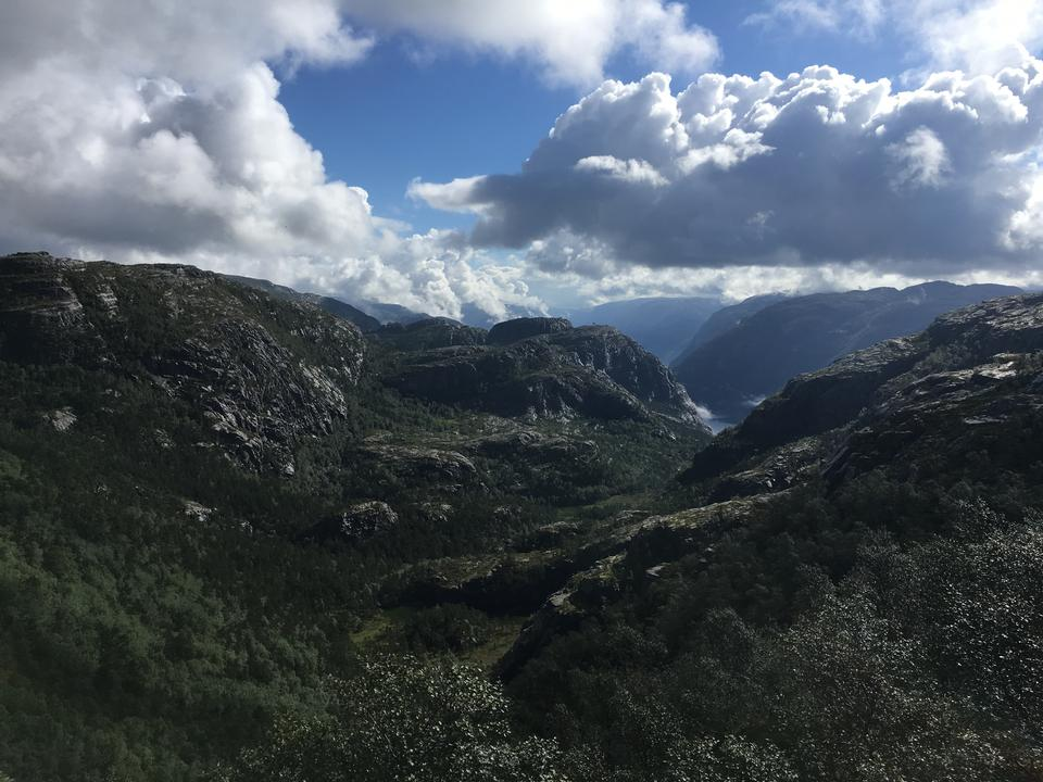 The trail to Troll's Tongue rock in Hordaland county Norway
