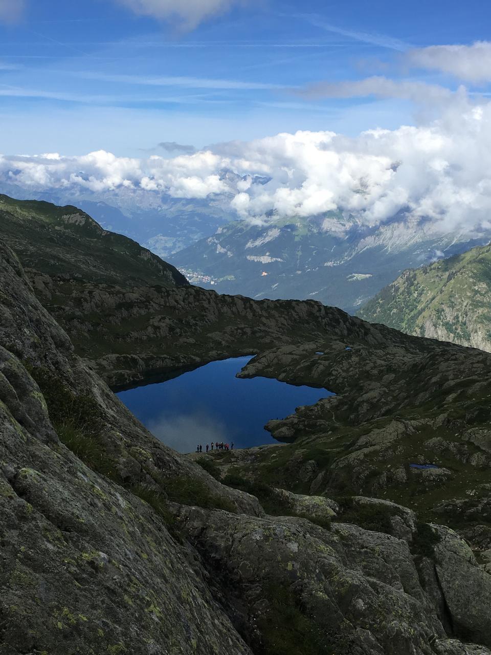 Bremon湖在夏蒙尼勃朗峰在法國
