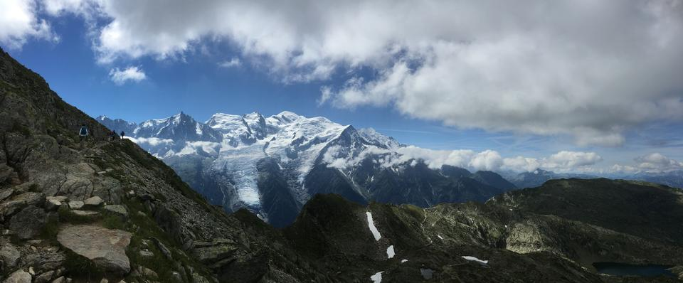 View of the Mont Blanc massif and Chamonix