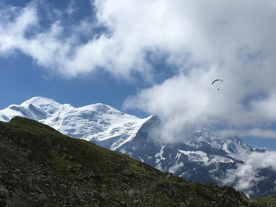 滑翔伞在阿尔卑斯山Brevent峰会