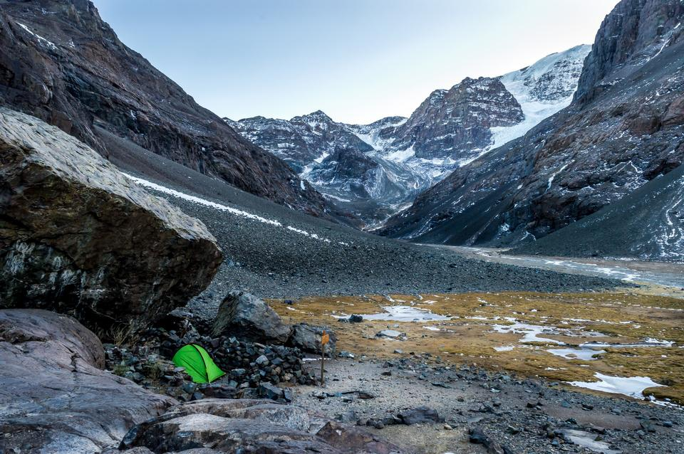 Camping Tent on snow mountain