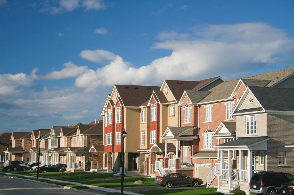 Townhouses in the suburbs of the North America