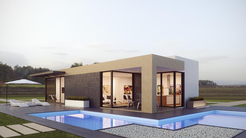 单身家庭的房子,有一个水平和一个游泳池