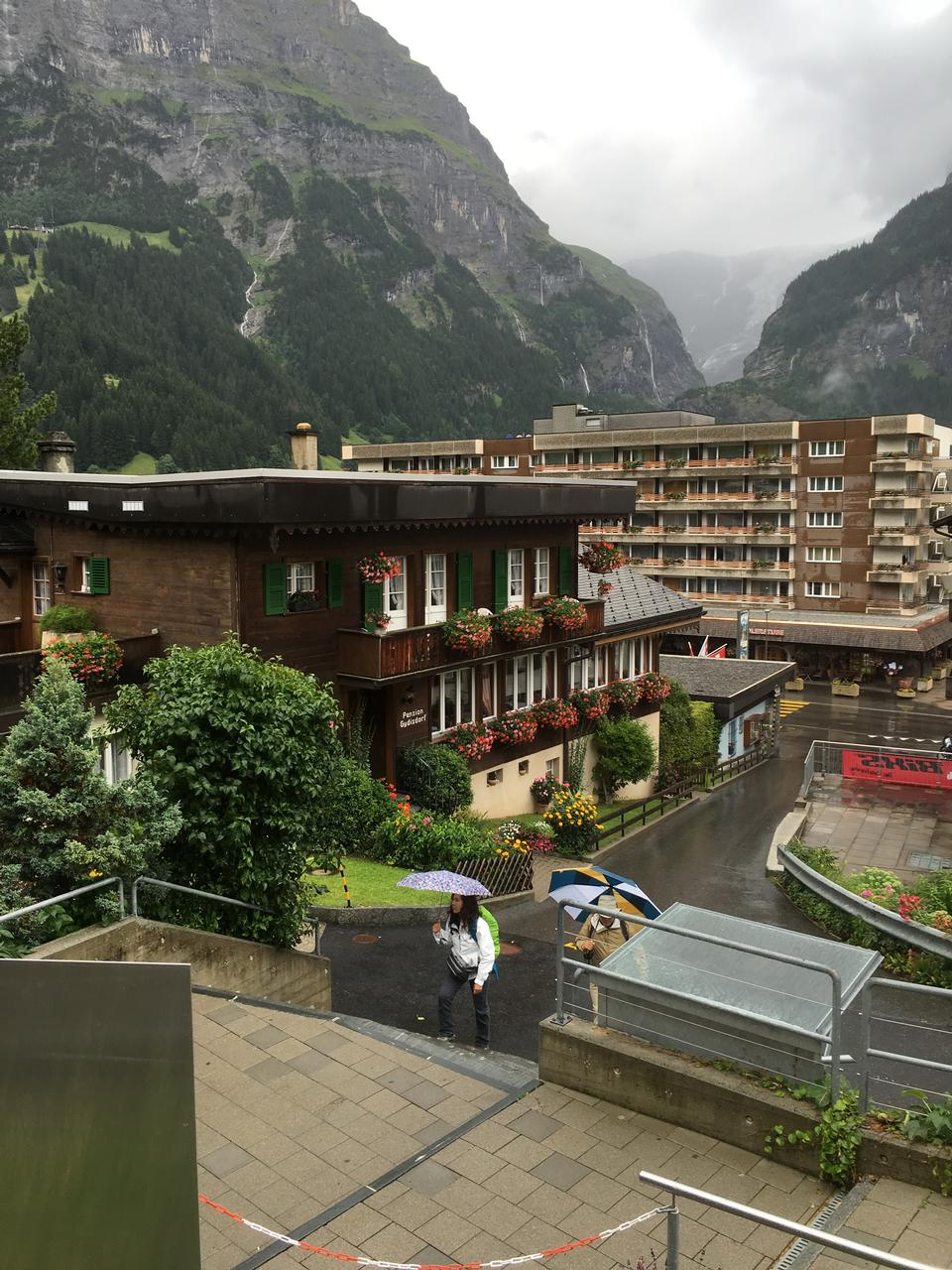 Lauterbrunnen with shops hotels terraces in swiss