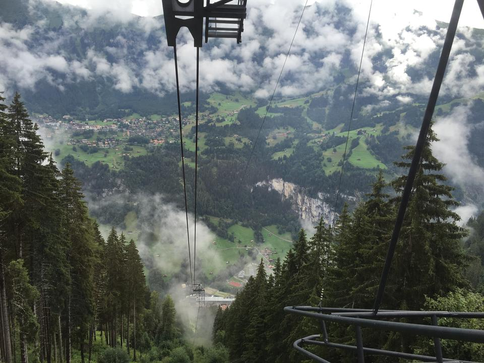 Cable car in swiss alps