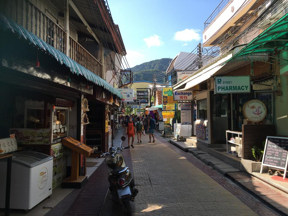tourists are shopping at old town in Phuket
