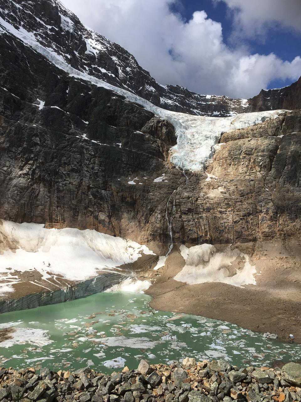 Glacier lake. Angel Glacier at Mount Edith Cavell. Jasper Nationa