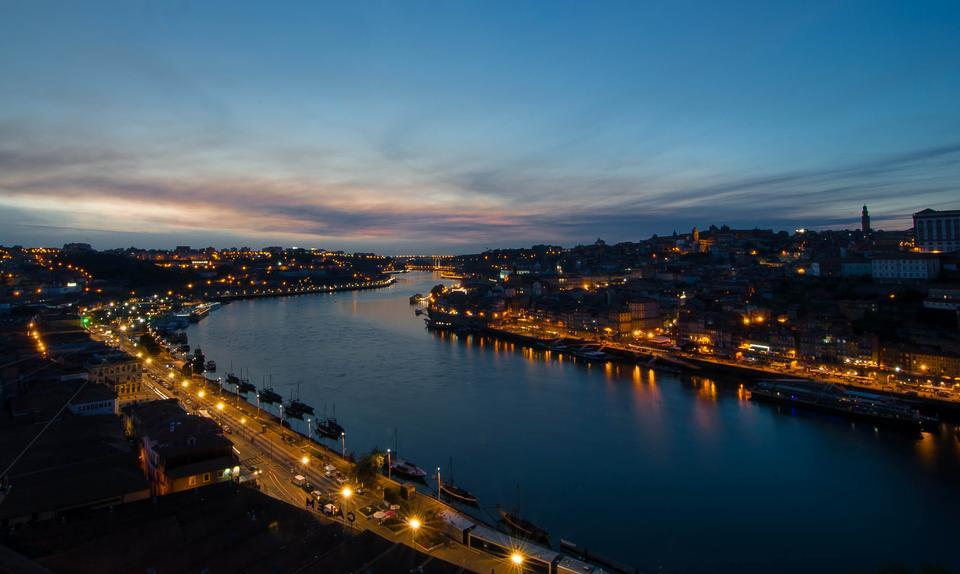 Evening city of Porto in Portugal
