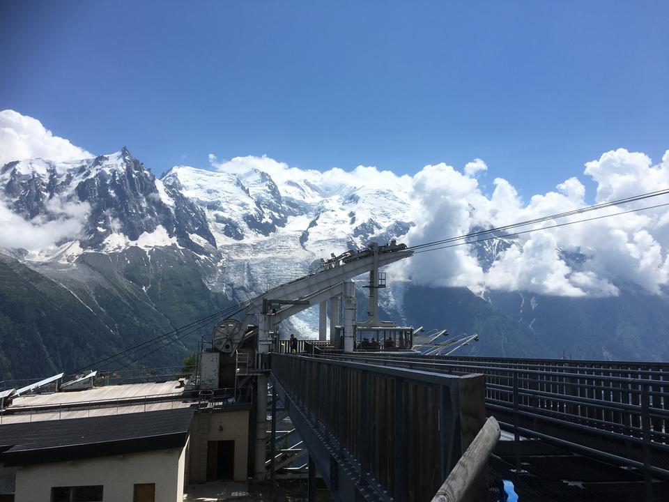 夏蒙尼勃朗峰上的缆车塔