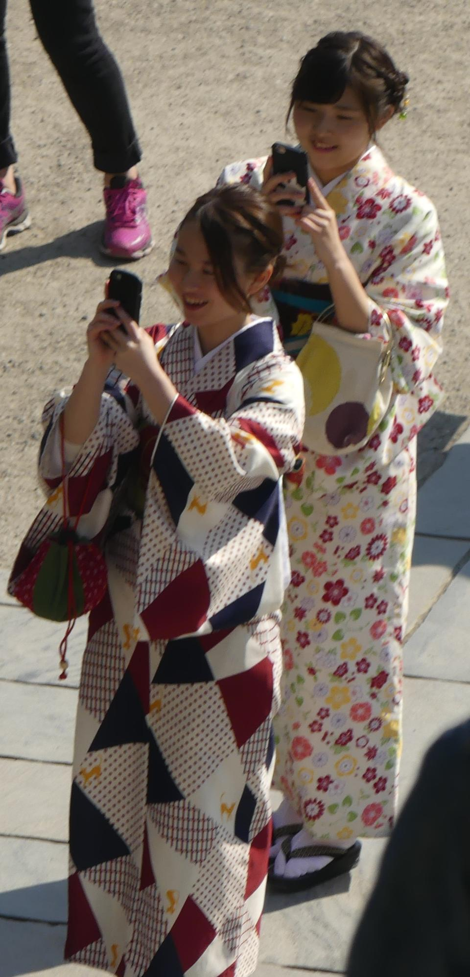 Japanese women wear a traditional dress called Kimono